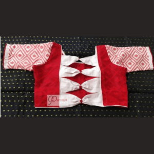 red jamdani body with red white work jamdani sleeves and white bow blouse 1