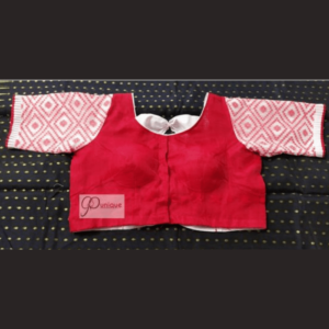 red jamdani body with red white work jamdani sleeves and white bow blouse 1(1)