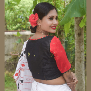 red and black combination jamdani blouse with pompom balls 2