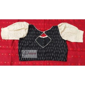 black white ikkat with off white hakoba with thin croche lace 1