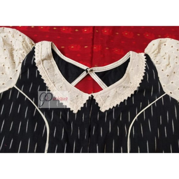 black white ikkat with off white hakoba with thin croche lace 2