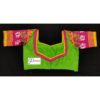 green jamdani body with multi colours work with 3layer frill blouse1