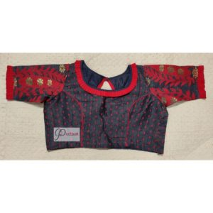 grey red jamdani with red frill blouse