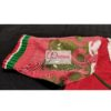 red jamdani body with white green work with 3layer frill blous2e
