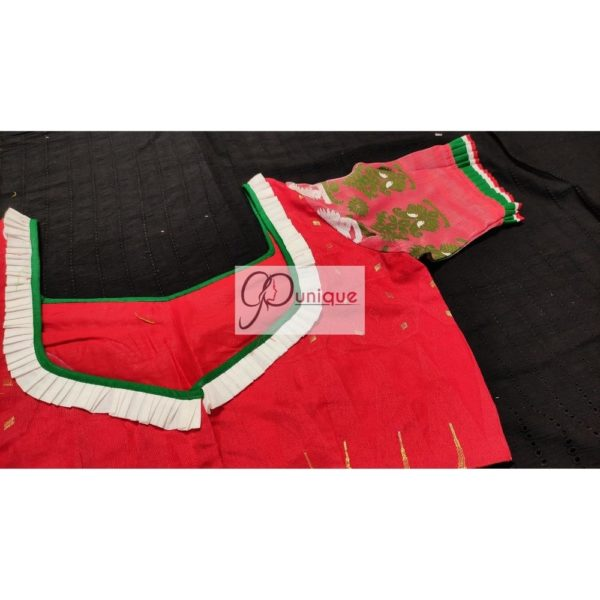 red jamdani body with white green work with 3layer frill blous3e
