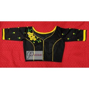 black yellow green 3d hand embroidery blouse with frills 1