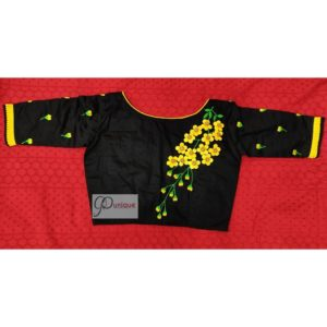 black yellow green 3d hand embroidery blouse with frills