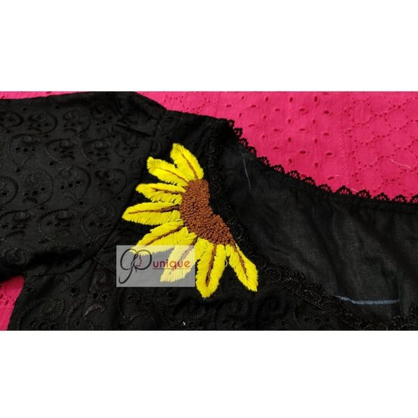 black hakoba with hand embroidery with lace blouse 1