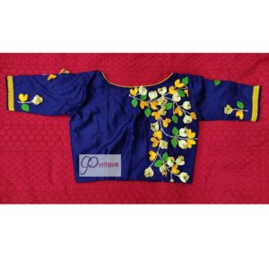 blue yellow green hand 3d embroidery blouse with frills
