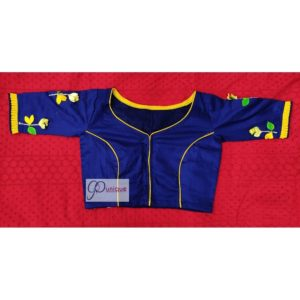 blue yellow green hand 3d embroidery blouse with frills 1