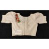 off white hakoba with hand embroidery with crochet lace blouse