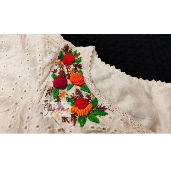 off white hakoba with hand embroidery with crochet lace blouse 1