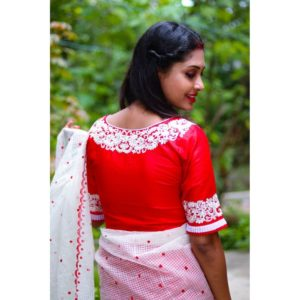 red white embroidery blouse with frills 1