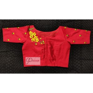 red yellow green 3d hand embroidery blouse 1