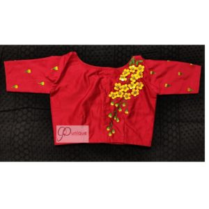 red yellow green 3d hand embroidery blouse