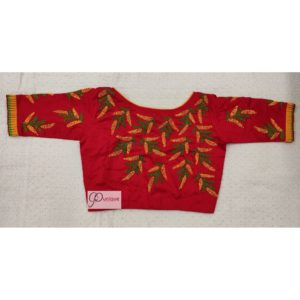 red yellow green hand embroidery blouse with frills