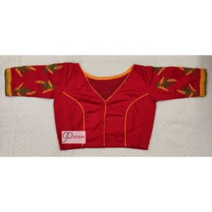 red yellow green hand embroidery blouse with frills 3