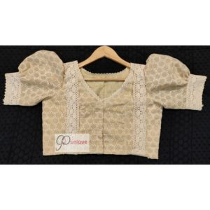 tussar hakoba with crocheted lace blouse