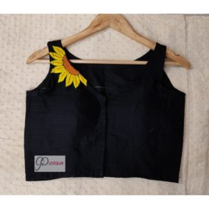 black khadi with sunflower embroidery blouse