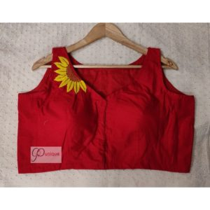 red khadi with sunflower Embroidery blouse
