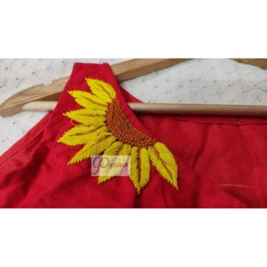 red khadi with sunflower embroydary 1