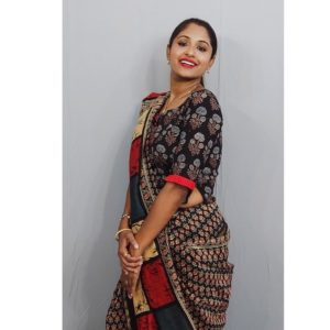 black ajrakh with red bolls croptop blouse