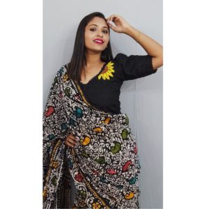 Black Hakoba With Sunflower Hand Embroidery With Lace Blouse